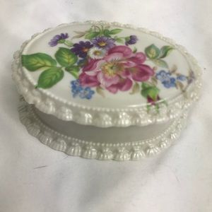 Hand Painted Vintage Porcelain Trinket Box